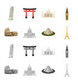 sights of different countries cartoonmonochrome vector image vector image