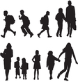 silhouettes students vector image