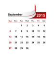 simple calendar 2015 year september month vector image