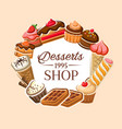 sweet cakes donuts pastry and desserts shop vector image