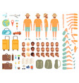 tourist constructor male character body parts vector image