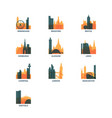 uk cities icons set skyline logo pack vector image