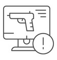 weapon on computer thin line icon computer attack vector image vector image
