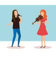 woman playing violin character vector image vector image