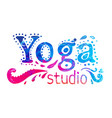 yoga studio design template over colorful vector image
