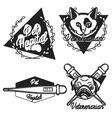 Vintage veterinarian emblems vector image