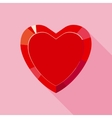 Red Valentine Crystal Heart for Gift in Flat Style vector image