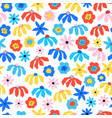 abstract flowers seamless pattern blue red vector image vector image