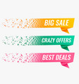abstract particle style origami sale banner set vector image