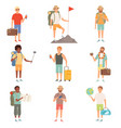 adventure people outdoor characters backpackers vector image vector image