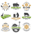 american farm and honey bee farm badge or label vector image vector image