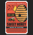 apiary beekeeping vintage poster with wild bees vector image