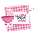 Baby Girl Stroller Invitation Card vector image vector image