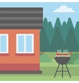 Background of the house with barbecue vector image