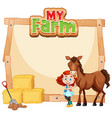 border template design with girl and brown horse vector image vector image