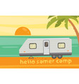 camping on tropical beach summer travel camper vector image vector image