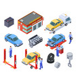 car service isometric people repair cars vector image vector image