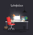 concept of workplace with computer vector image vector image