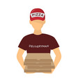 courier on the delivery of pizza logistics and vector image