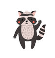 cute hand drawn raccoon isolated on white vector image