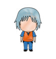 cute little boy anime faceless color image vector image vector image