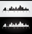 des moines usa skyline and landmarks silhouette vector image