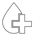 drop and cross icon black color flat style simple vector image vector image
