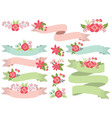 Floral Ribbons Set vector image
