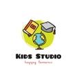 funny cartoon style educational logo vector image