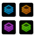 glowing neon layers icon isolated on white vector image vector image