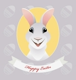 Greeting card with funny Easter rabbit vector image vector image