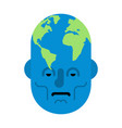 head planet earth world map on head vector image vector image