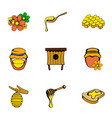 honey icons set cartoon style vector image vector image