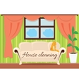 House Cleaning Cat on Sofa Design Flat vector image vector image