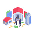 isometric banking concept vector image vector image