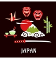 Japan travel flat concept with cultural symbols vector image vector image