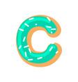 letter c donut font doughnut alphabet sweet vector image vector image