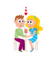 loving couple boy and girl sharing cocktail vector image