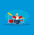 man play at drums banner flat style vector image vector image