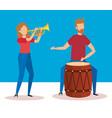 man playing bongo and woman playing trumpet vector image vector image