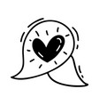 monoline cute text bubble with heart vector image