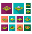 mountains massive flat icons in set collection vector image