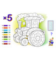 multiplication table 5 for kids math education vector image vector image