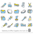 Office Supplies and Stationery Linear Icons Set vector image vector image