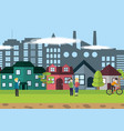 people on green city vector image