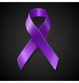 Purple awareness ribbon over black background vector image vector image