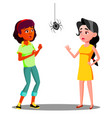 scared teen girls with spider on the wall vector image vector image
