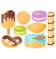 set of sweets croissant pretzel cupcake vector image vector image