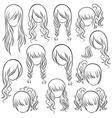 Set of teenage girl hairstyles vector image vector image
