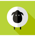 Sheep Flat Icon over Green vector image